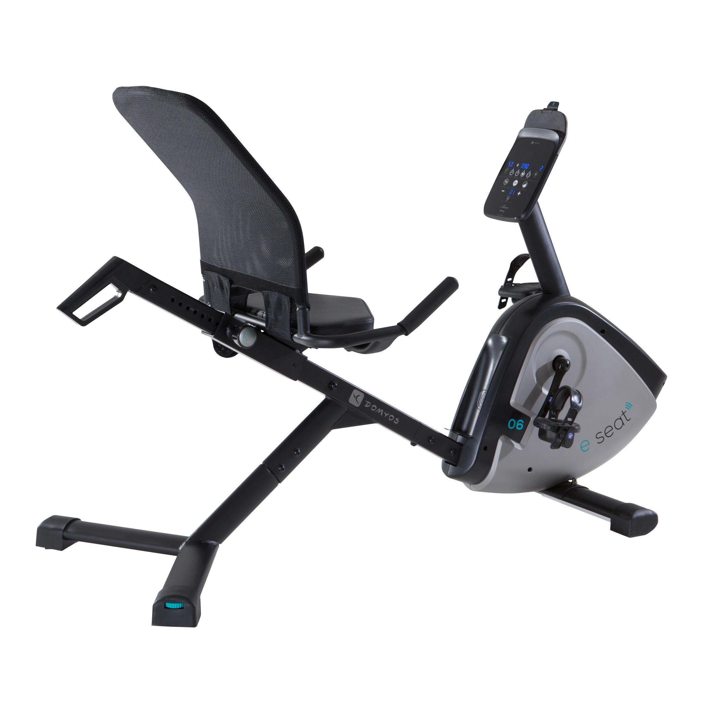 Folding exercise bike Bicicleta+Est+tica+con+respaldo+Domyos+E+Seat