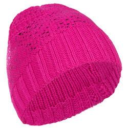 兒童滑雪運動帽 金屬粉紅