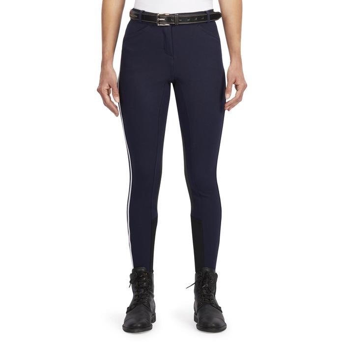 Pantalon équitation femme BR340 Stripe basanes agrippantes marine