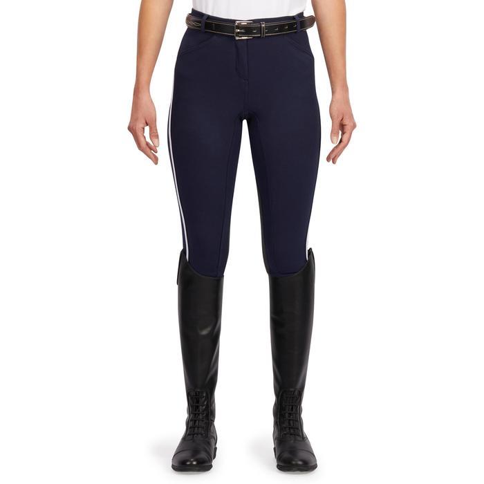Pantalón de equitación mujer 140 STRIPE con badanas adherentes azul marino