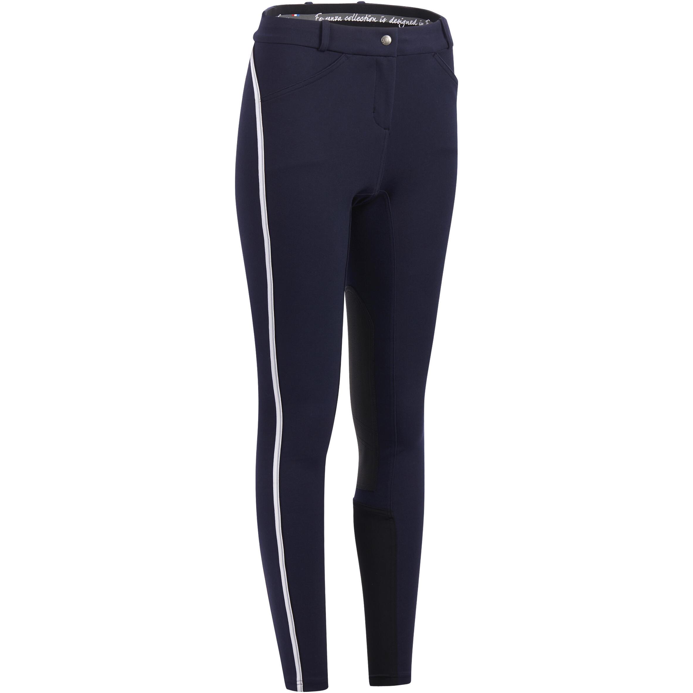 Reithose 140 Rutschfester Kniebesatz Damen marineblau   Sportbekleidung > Sporthosen > Sonstige Sporthosen   Blau - Grau   Fouganza