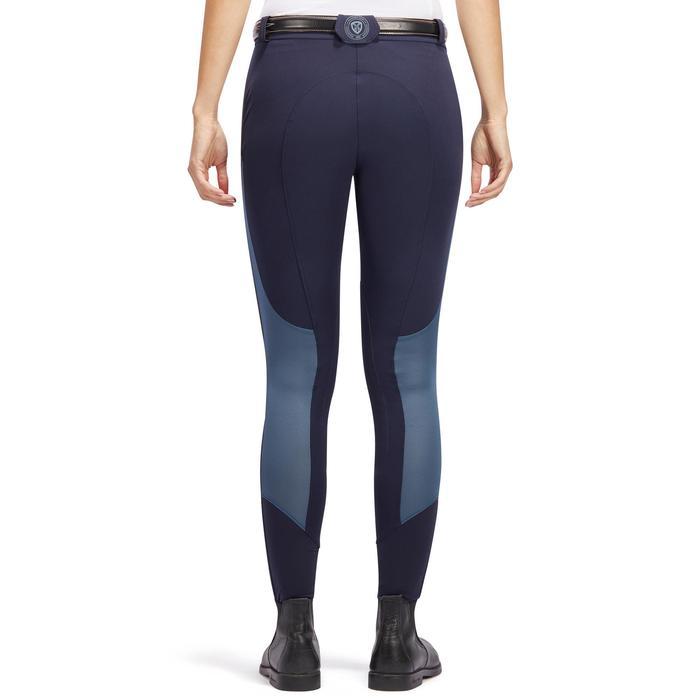 Pantalón de equitación para mujer 500 MESH azul marino y gris