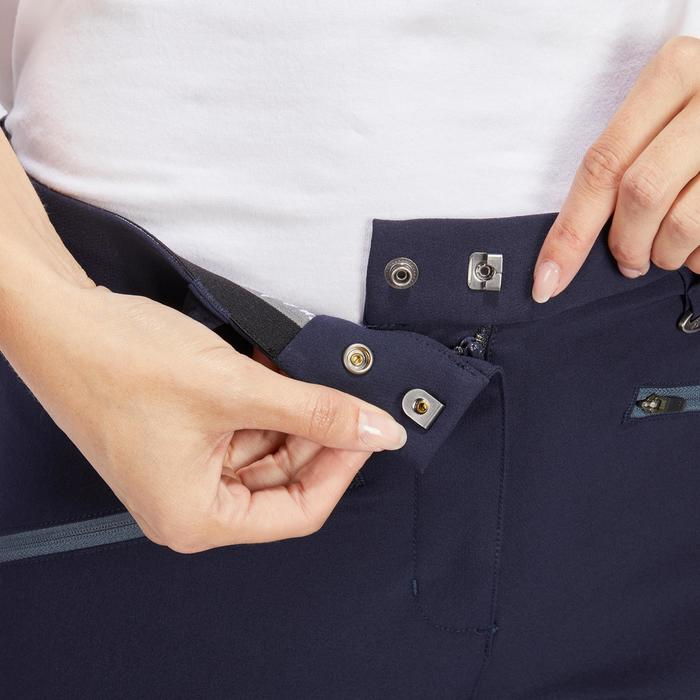 Reithose 500 Light Kniebesatz Damen marineblau/grau