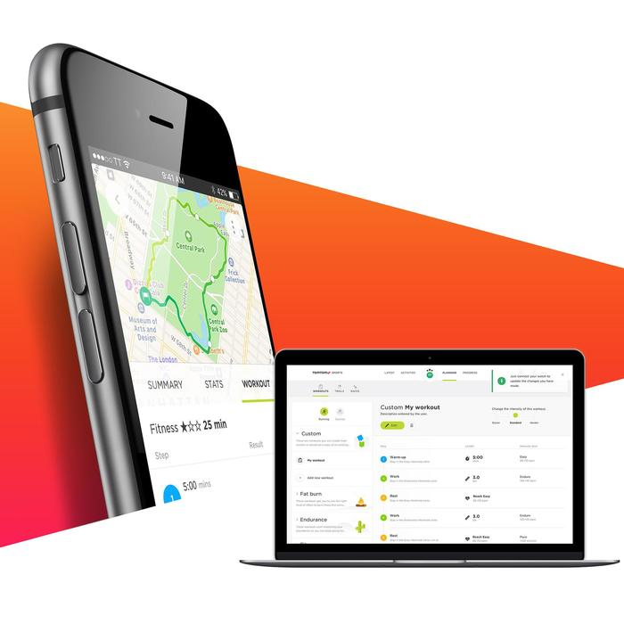 Montre de sport GPS Adventurer cardio + music au poignet noir/orange (taille L)