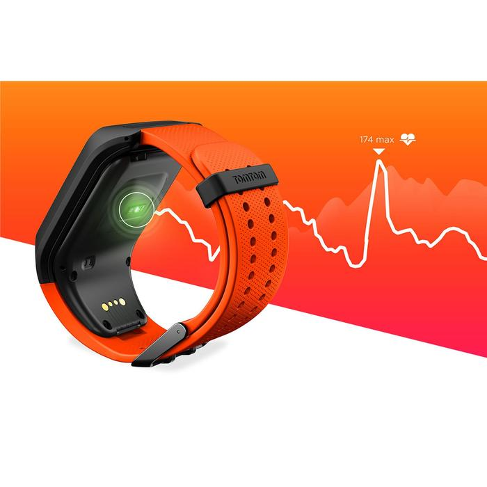 Montre de sport GPS Adventurer cardio + music au poignet noir/orange (taille L) - 1255554