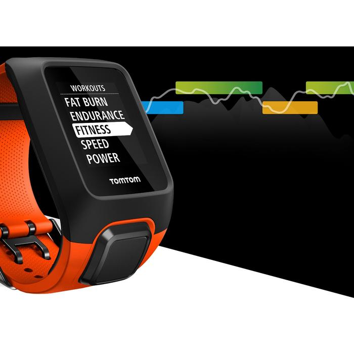Montre de sport GPS Adventurer cardio + music au poignet noir/orange (taille L) - 1255558