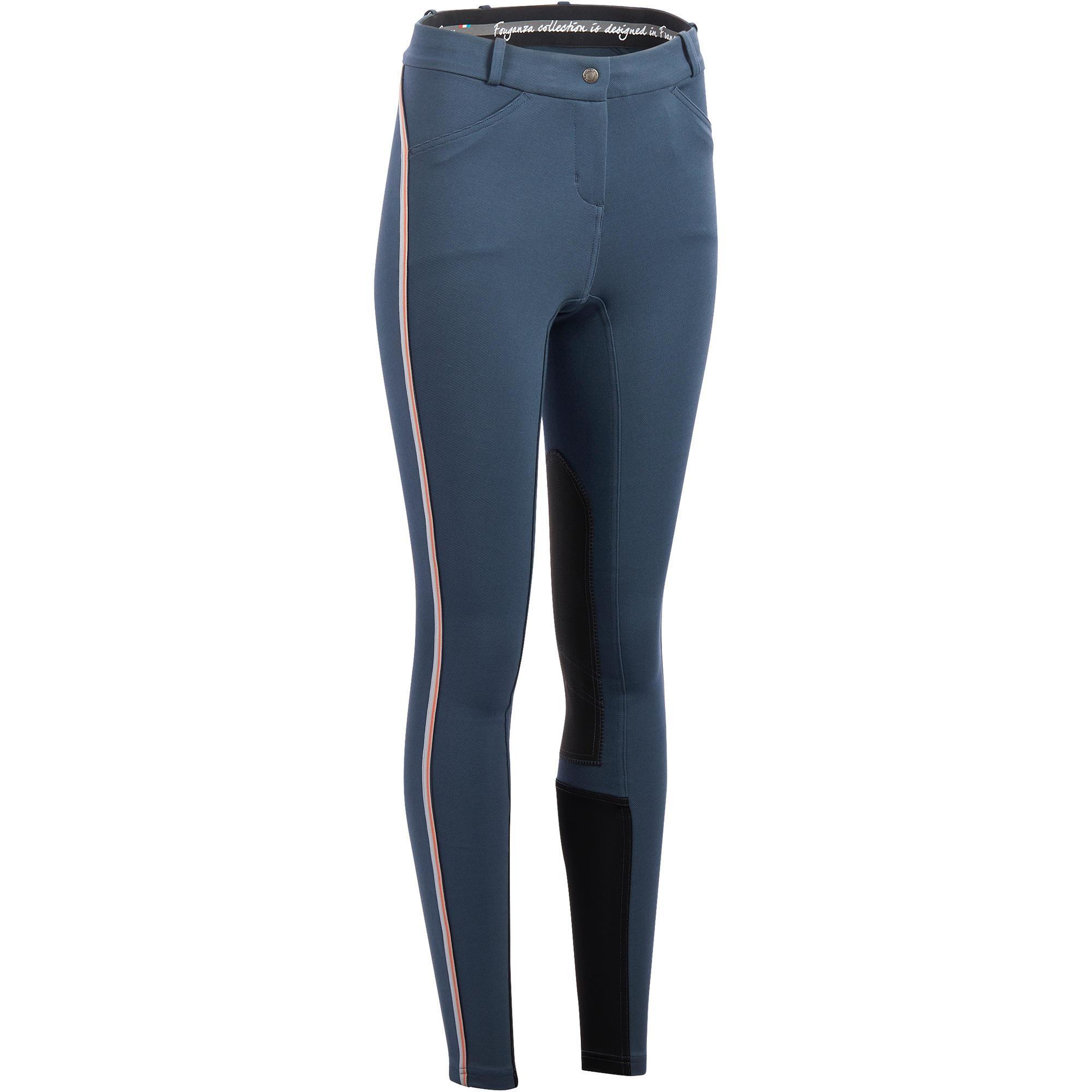 Fouganza Paardrijbroek dames BR340 Stripe antislip kniestukken blauwgrijs