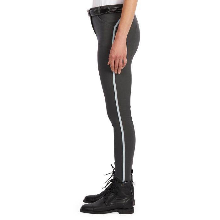 Pantalon équitation femme BR340 Stripe basanes agrippantes gris foncé