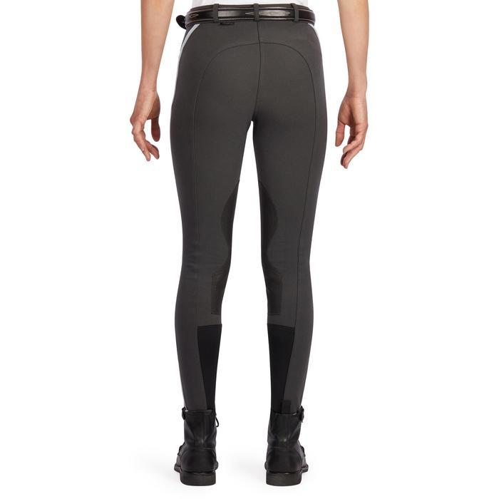 Pantalon équitation femme 140 STRIPE basanes agrippantes gris foncé