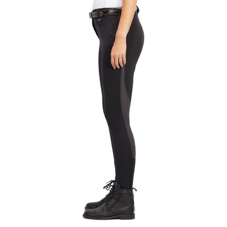 500 Mesh Women's Lightweight Horse Riding Jodhpurs - Black/Grey