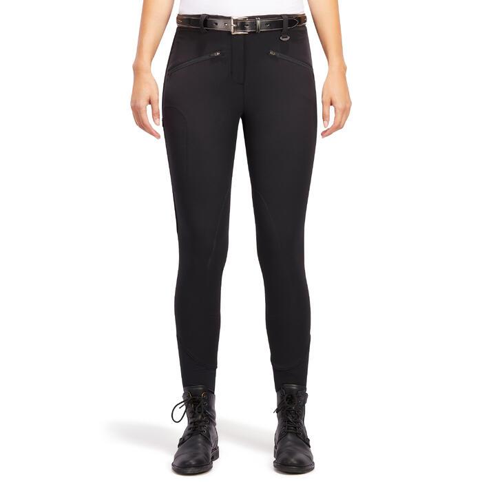 Pantalón de equitación para mujer BR500 MESH negro y gris