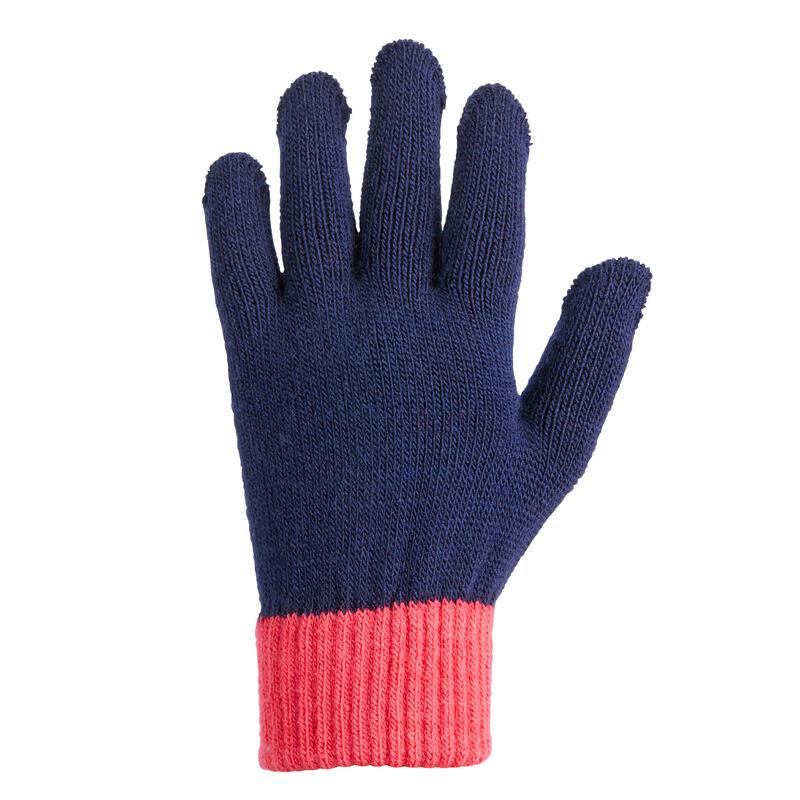 Tricot rijhandschoenen voor kinderen marineblauw/roze siliconen noppen