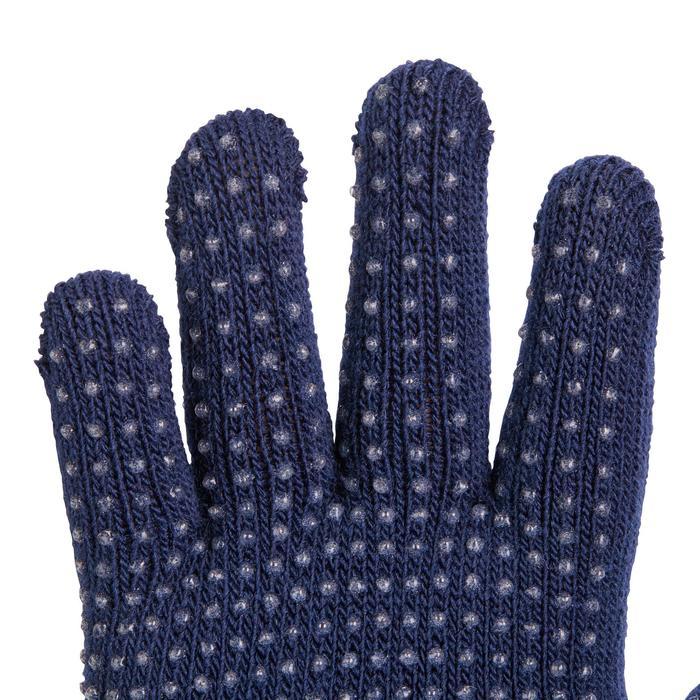Tricot rijhandschoenen met siliconen noppen voor kinderen zwart/framboosroze