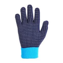 Gants équitation enfant TRICOT marine et bleu picots silicone