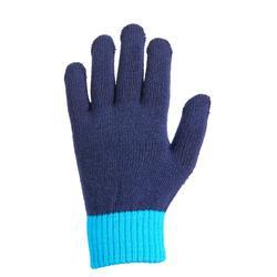 Tricot paardrijhandschoenen voor kinderen marineblauw en turquoise