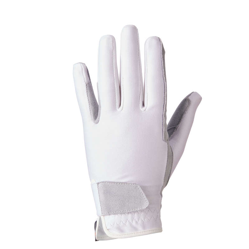KID RIDING GLOVES Clothing  Accessories - Basic Children's Gloves White FOUGANZA - Accessories
