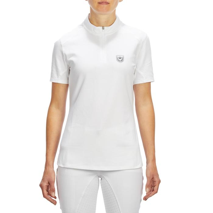 500 Women's Short-Sleeved Horse Riding Competition Polo Shirt - White