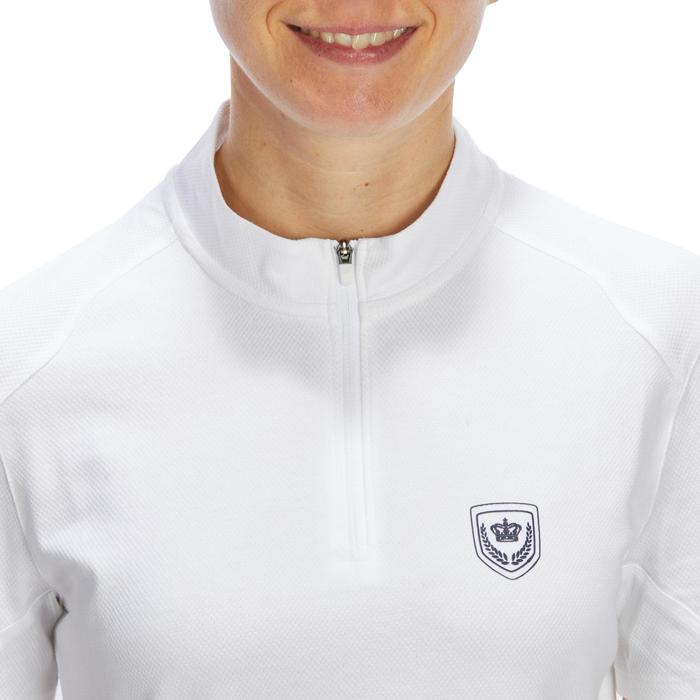 Polo de competición manga corta equitación mujer 500 COMPET blanco