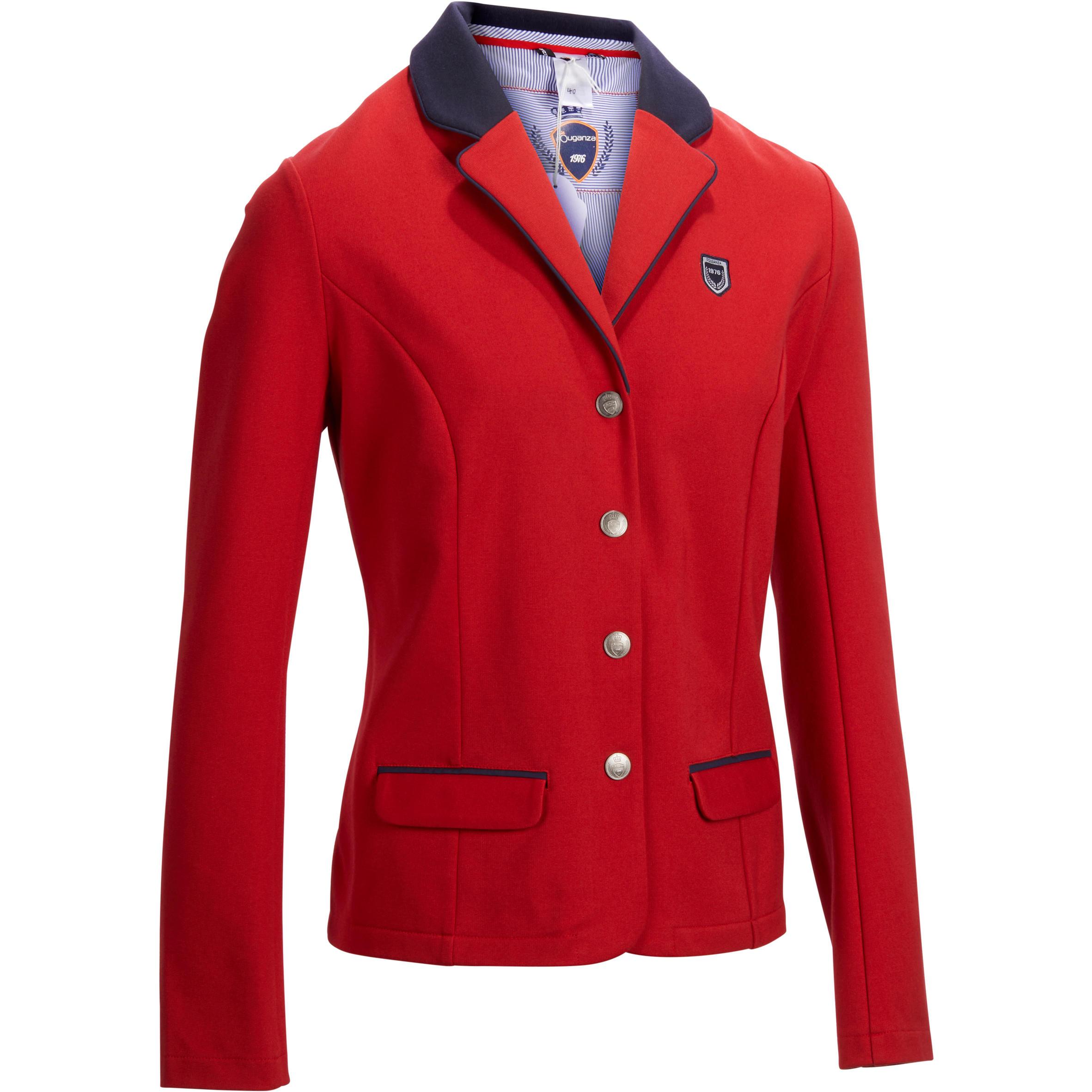 Fouganza Wedstrijdjasje Comp100 voor dames ruitersport rood