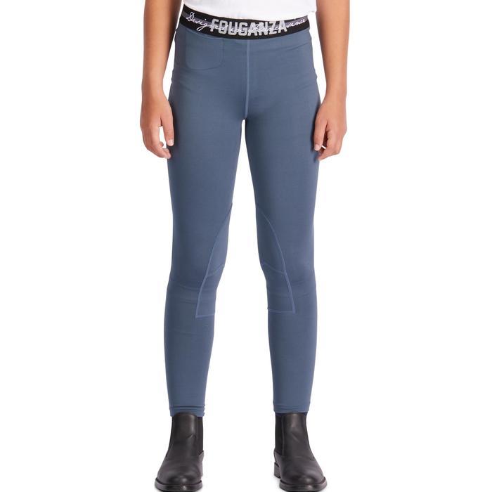 Pantalón equitación júnior 100 LIGHT gris y azul marino