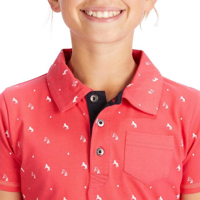 Reitpoloshirt Kurzarm PL140 Girl Kinder rosa mit weißen Motiven
