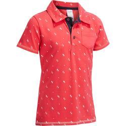 Polo manga corta equitación niña PL140 GIRL rosa motivos blancos