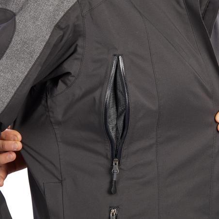 Veste imperméable équitation femme 500 gris foncé et motifs chevron