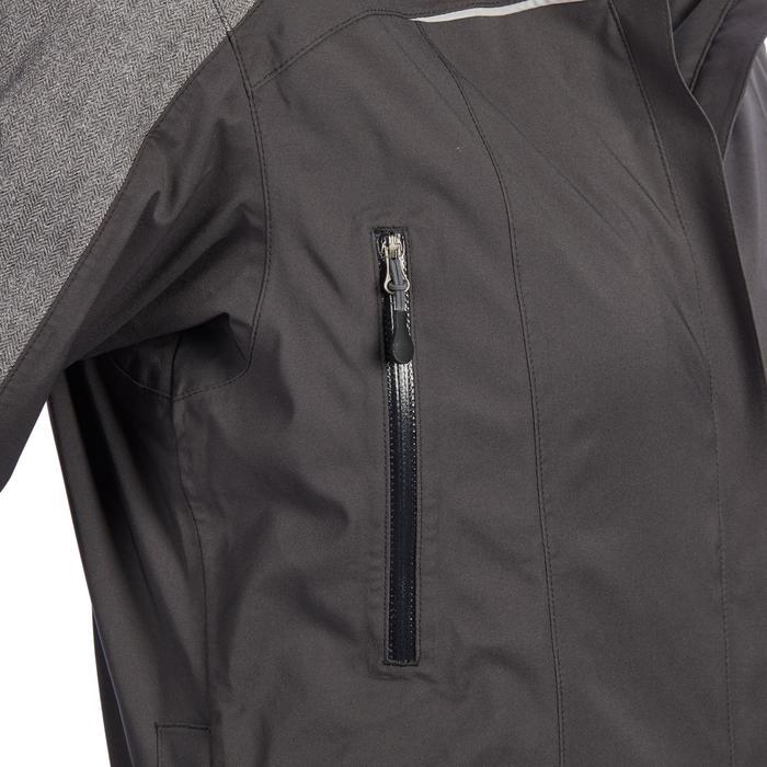 Regenjas ruitersport dames JKT500 carbongrijs en visgraatmotief