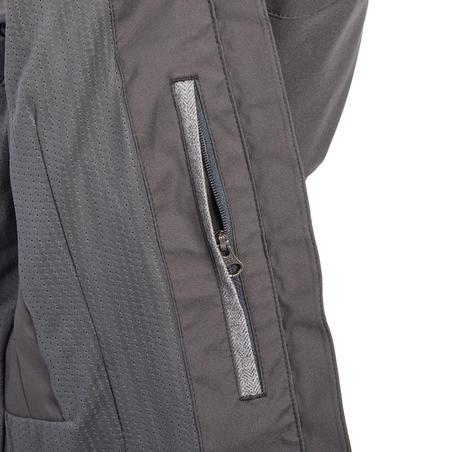 500 Women's Horse Riding Waterproof Jacket - Dark Grey and Chevron Pattern