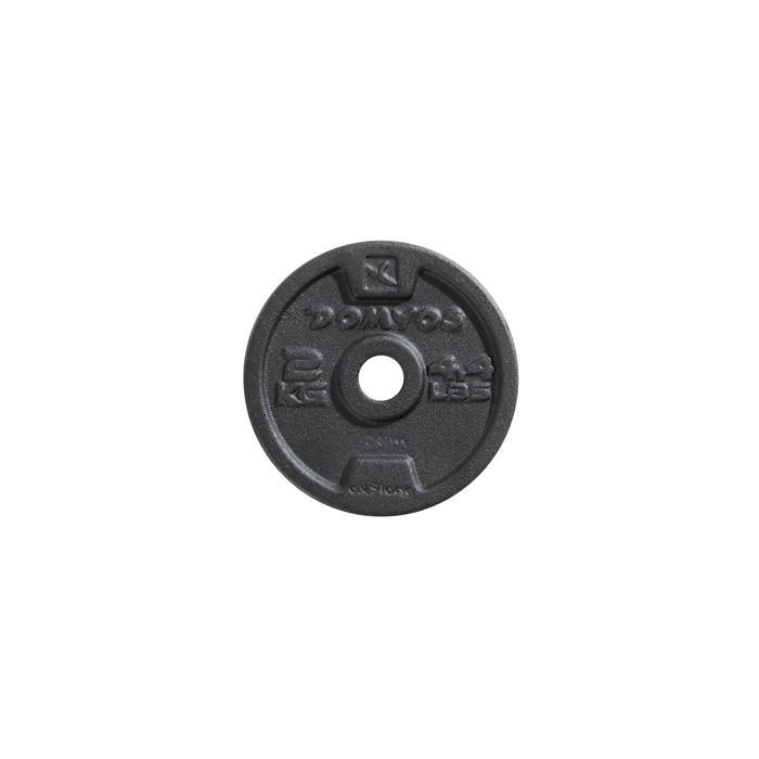 Gietijzeren halterschijf van 0.5, 1, 2, 5, 10 of 20 kg.