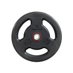 Halterschijf met handgrepen 28 mm rubber 15 kg