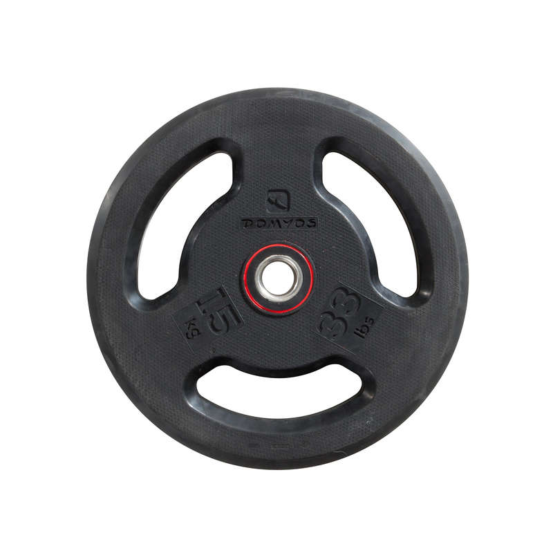 FREE WEIGHTS AND EQUIPMENT - 15 kg Rubber Disc Weight DOMYOS