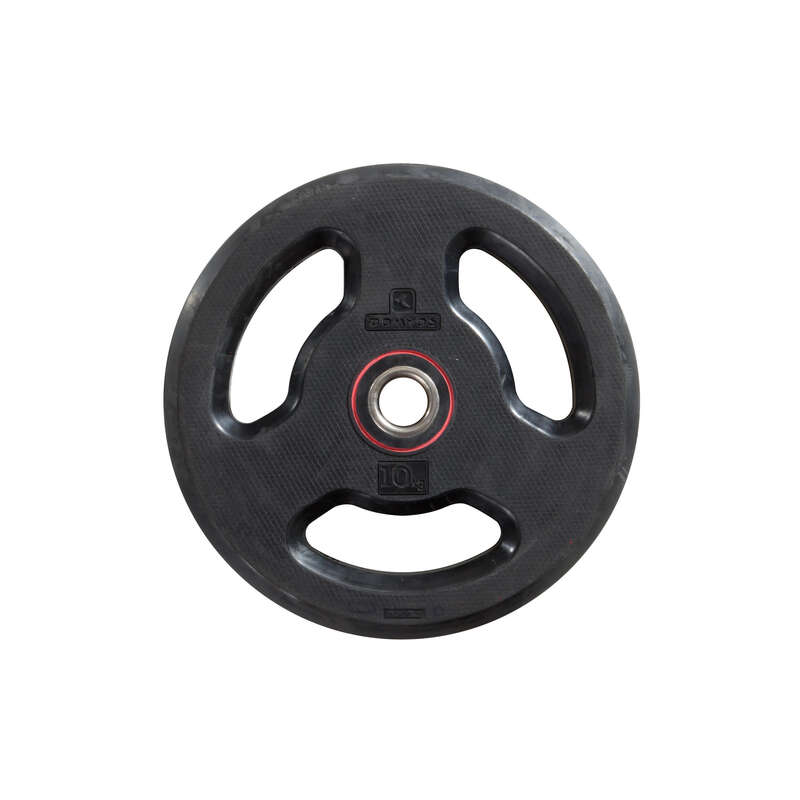 FREE WEIGHTS AND EQUIPMENT Fitness and Gym - 10 kg Rubber Weight Disc DOMYOS - Fitness and Gym