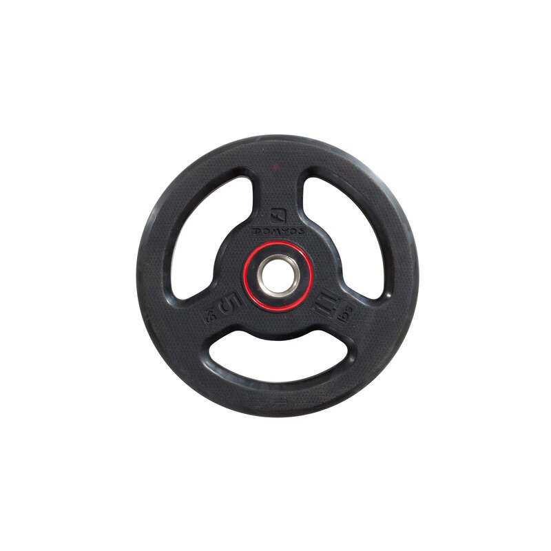 FREE WEIGHTS AND EQUIPMENT Fitness and Gym - 5kg Rubber Weight Disc DOMYOS - Fitness and Gym