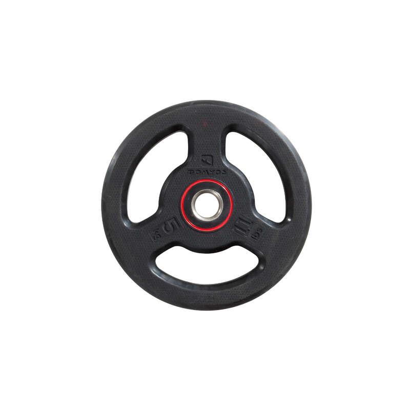 Sets, Gewichte & Stangen Fitness - Hantelscheibe gummiert 5 kg DOMYOS - Krafttraining & Crosstraining