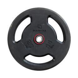 Disco de Musculação em Borracha com Pegas 28 mm 20 kg