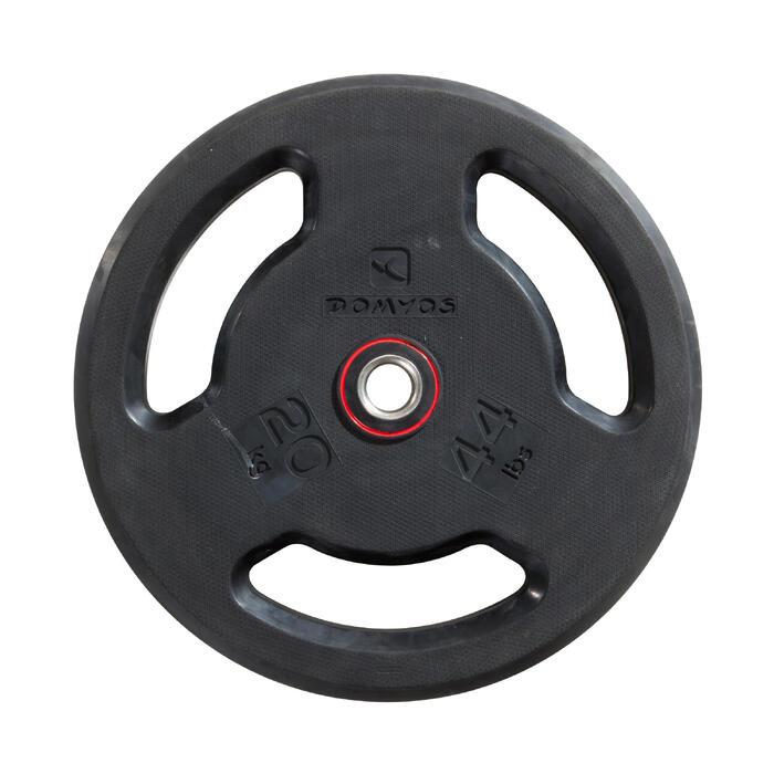 Disque musculation avec poignées 28 mm caoutchouc 20 kg - 1256498