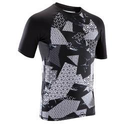 Camiseta Manga Corta Cross Training Musculación Domyos Hombre Compresión Negro