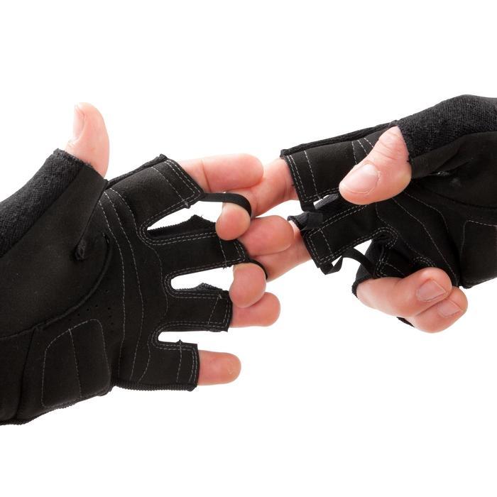 Gant musculation poignée noir gris serrage double velcro - 1256659