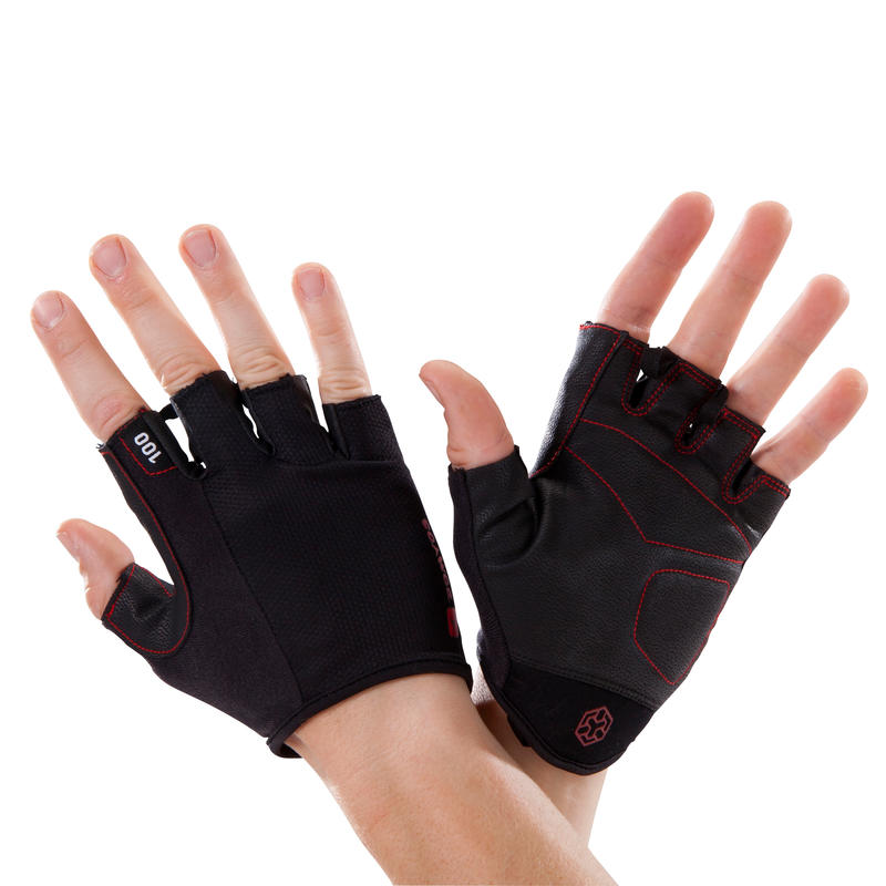 Body Building and Weight Training Gloves 100 - Black/Red