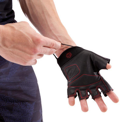 Gant musculation 100 Domyos noir rouge