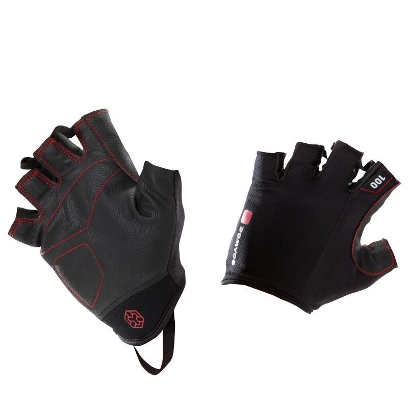 Guanti bodybuilding 100 nero-rosso