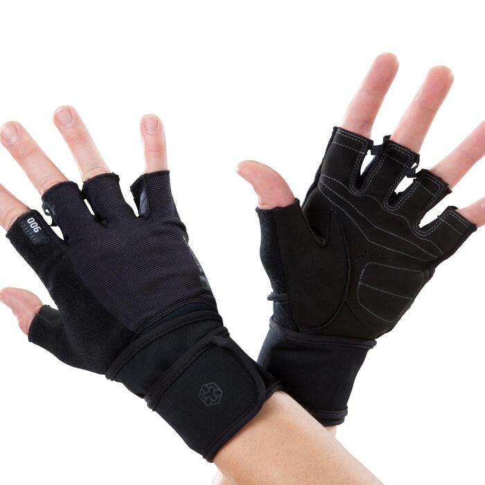 Gant musculation poignée noir gris serrage double velcro - 1256701