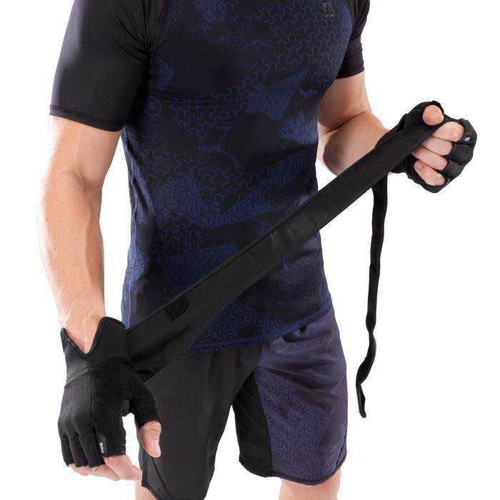 Gant musculation poignée noir gris serrage double velcro - 1256721