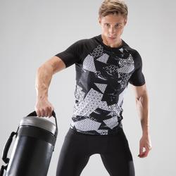 Fitness shirt 500 compressie voor heren, zwart/wit
