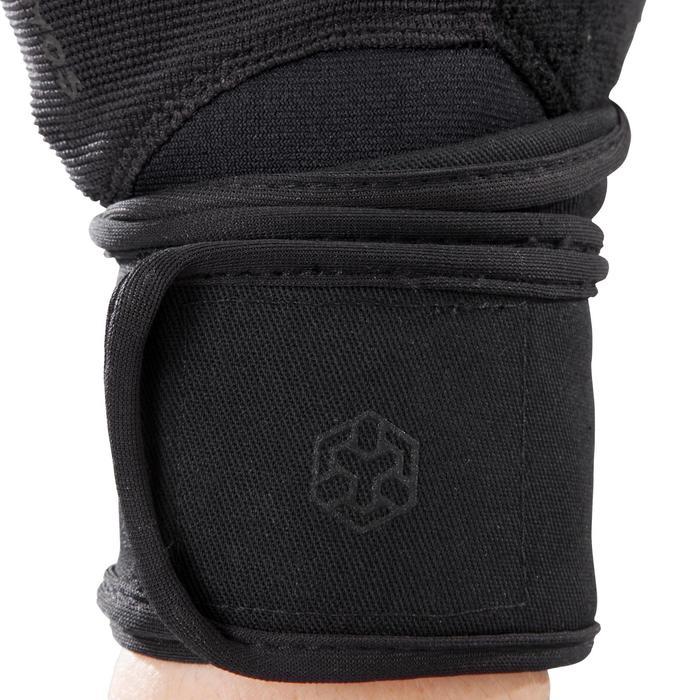 Gant musculation poignée noir gris serrage double velcro - 1256726