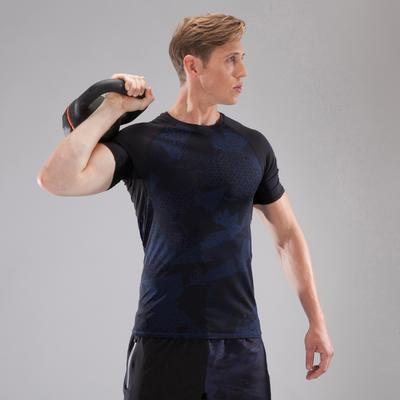 500 تيشرت تدريب لشد الجسم -لون أسود/أبيض