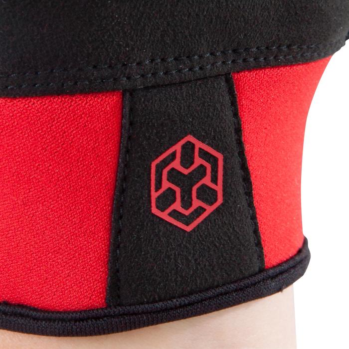 Guante de musculación 500 negro rojo con ajuste autoadherente en la muñeca