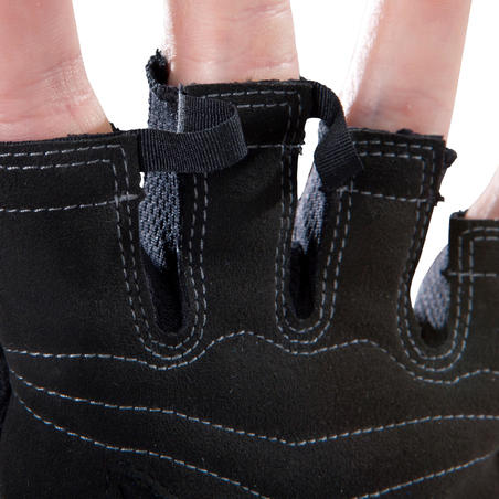 Gants de musculation noirs rouges poignée de serrage en velcro