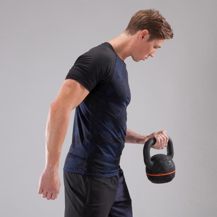 T-Shirt 500 Kompression Crosstraining Herren schwarz/blau